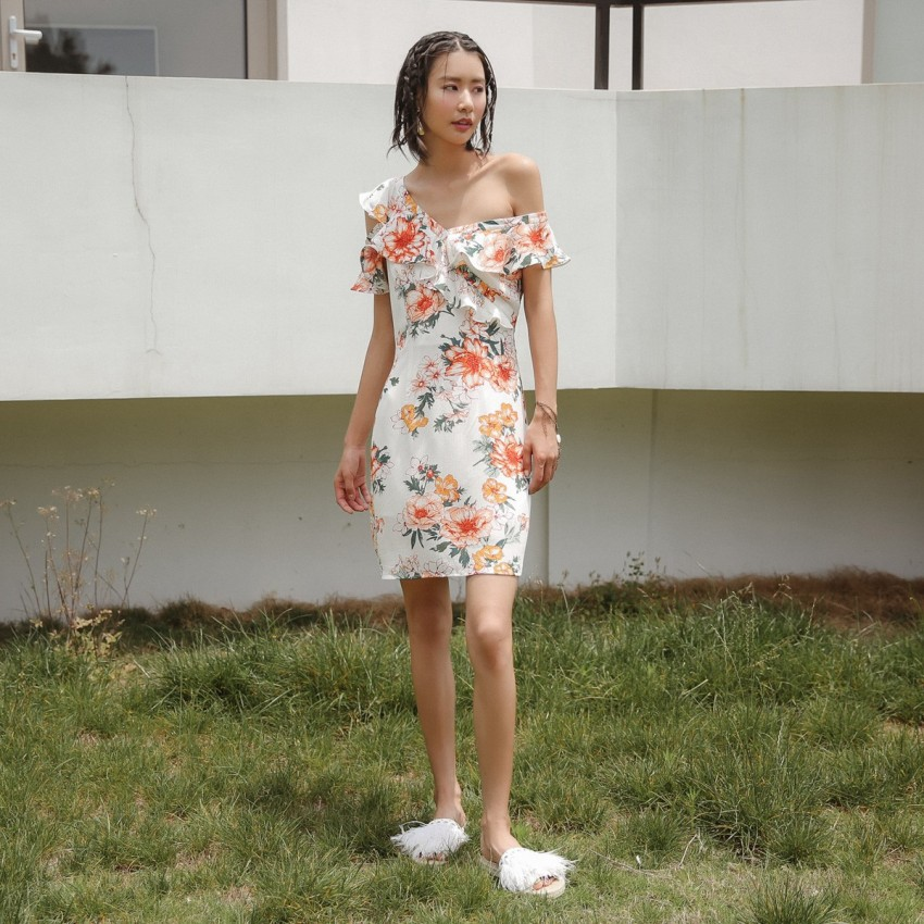 Buy Isislove Sheath Floral White Dress online, shop Isislove with free shipping