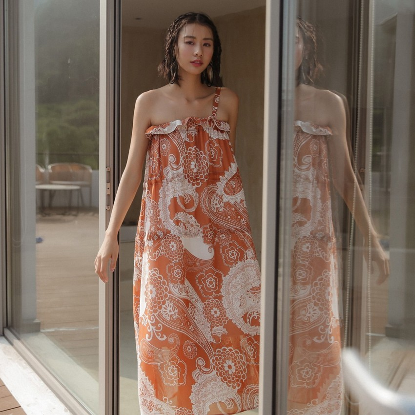 Buy Isislove Oriental Off-The-Shoulder Orange Tent Dress online, shop Isislove with free shipping