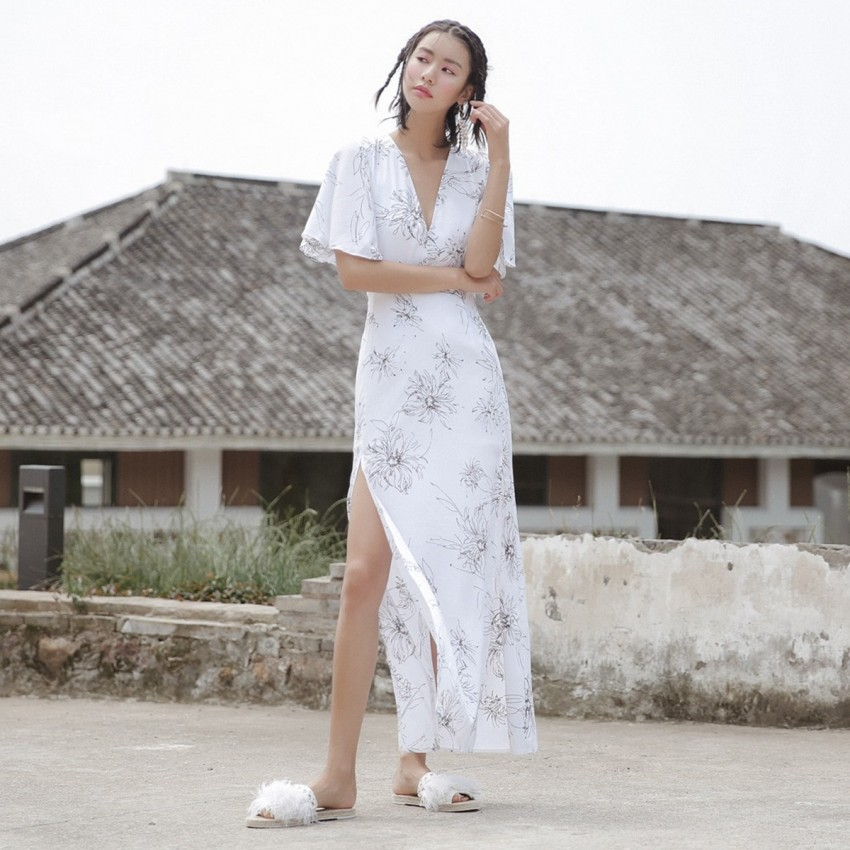 Buy Isislove Plunge Neck Floral White Dress online, shop Isislove with free shipping
