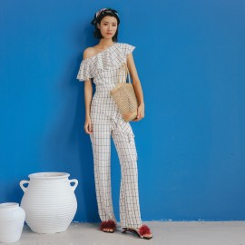 Isislove Single Shoulder Checkered White Jumpsuit (DR18059)