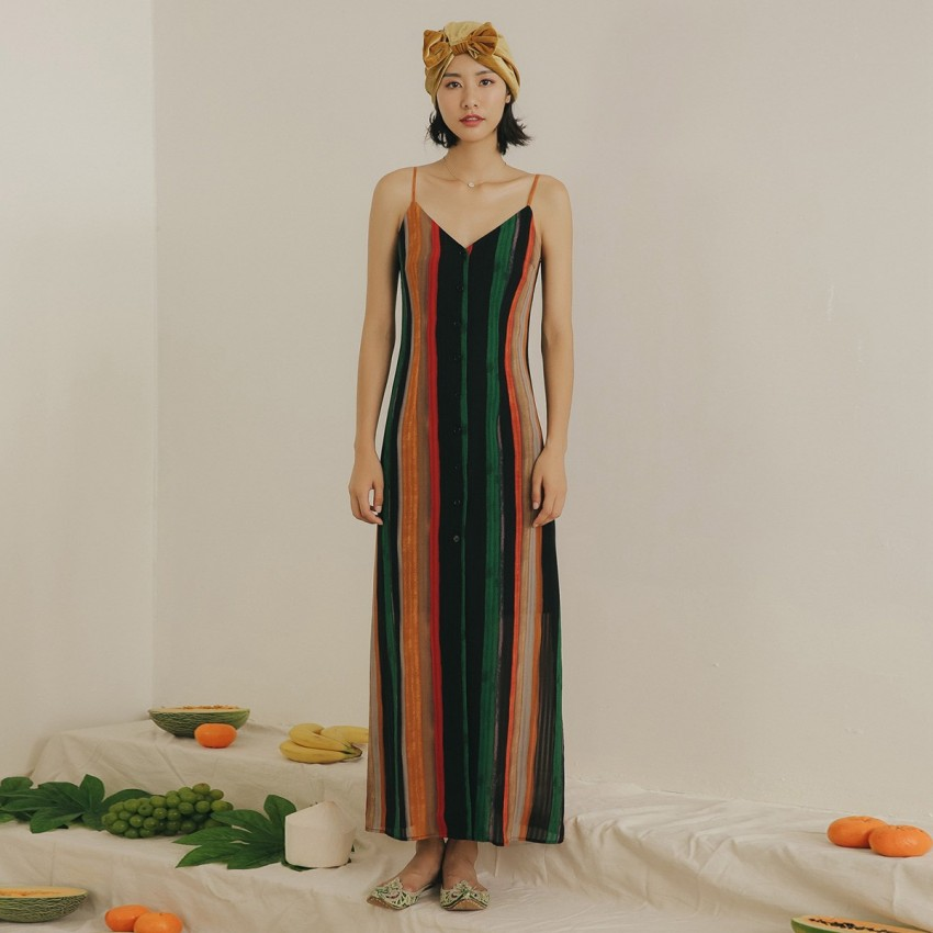 Buy Isislove Long Colorful Stripe Dress online, shop Isislove with free shipping