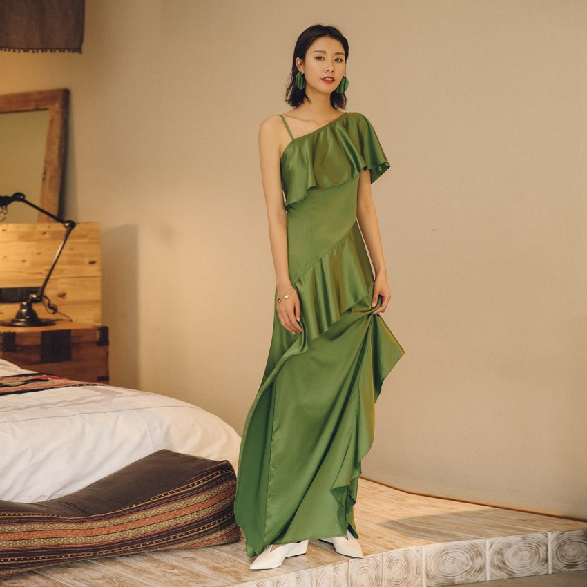 Buy Isislove Single-Shoulder Green Dress online, shop Isislove with free shipping