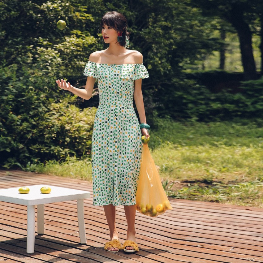 Buy Isislove Button Dotted Green Dress online, shop Isislove with free shipping