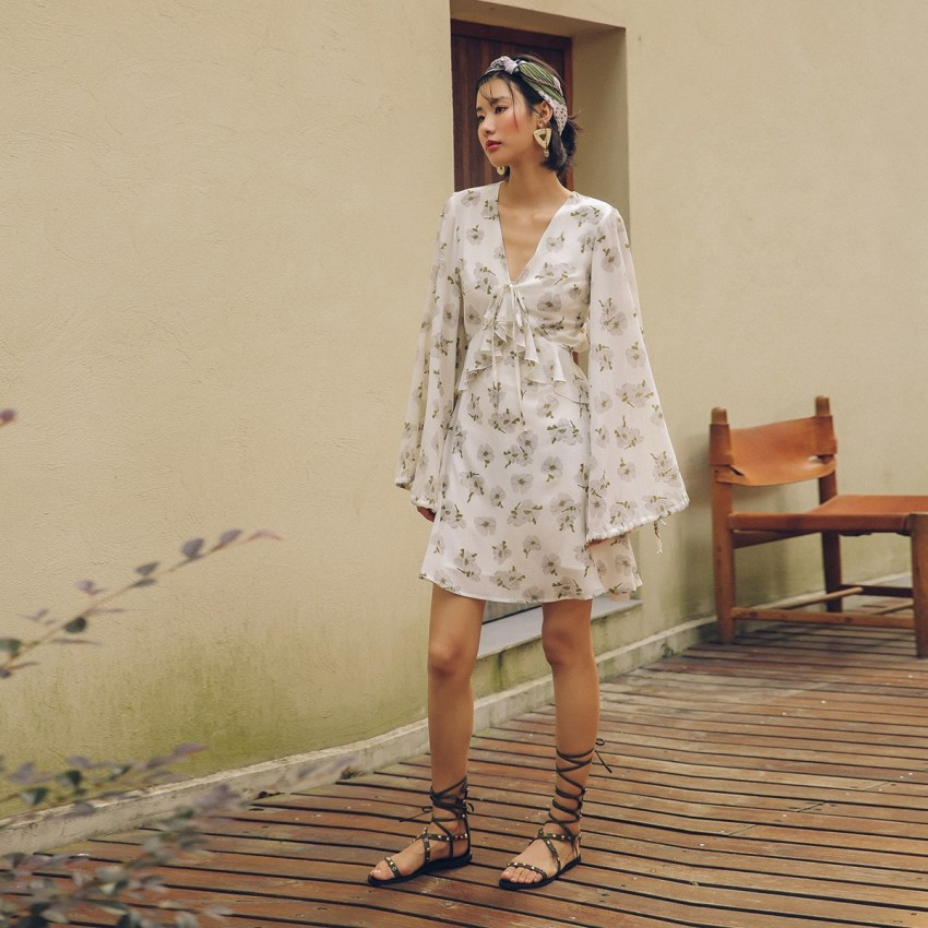 Buy Isislove Light Floral White Dress online, shop Isislove with free shipping