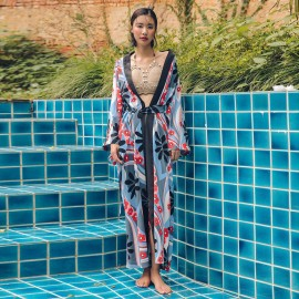 Isislove Beach Floral Navy Robe (DR18094)