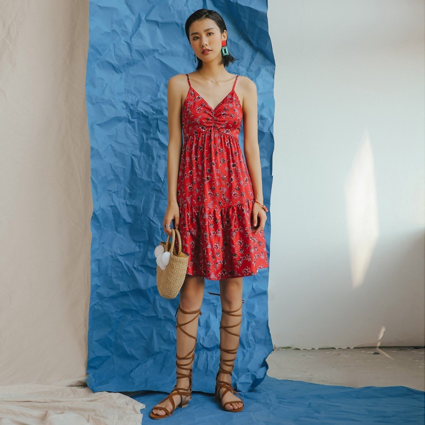 Buy Isislove High-Waist Floral Red Dress online, shop Isislove with free shipping