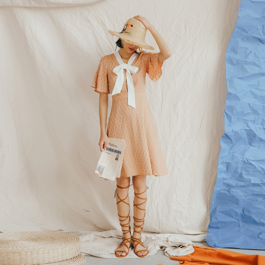 Buy Isislove Semi-Circle Stripe Nude Dress online, shop Isislove with free shipping