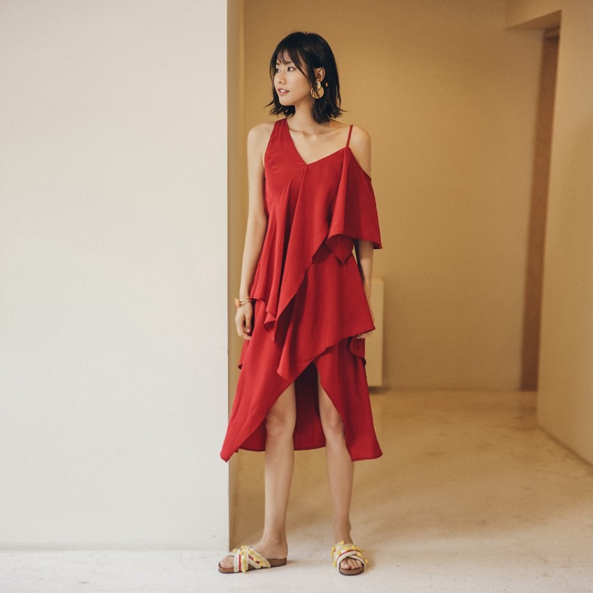 Buy Isislove Asymmetric Red Dress online, shop Isislove with free shipping