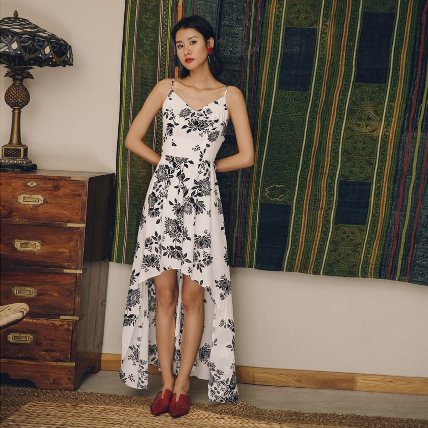 Buy Isislove Mandarin Backless Floral White Dress online, shop Isislove with free shipping