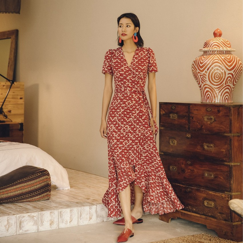 Buy Isislove Diamond Red Dress online, shop Isislove with free shipping