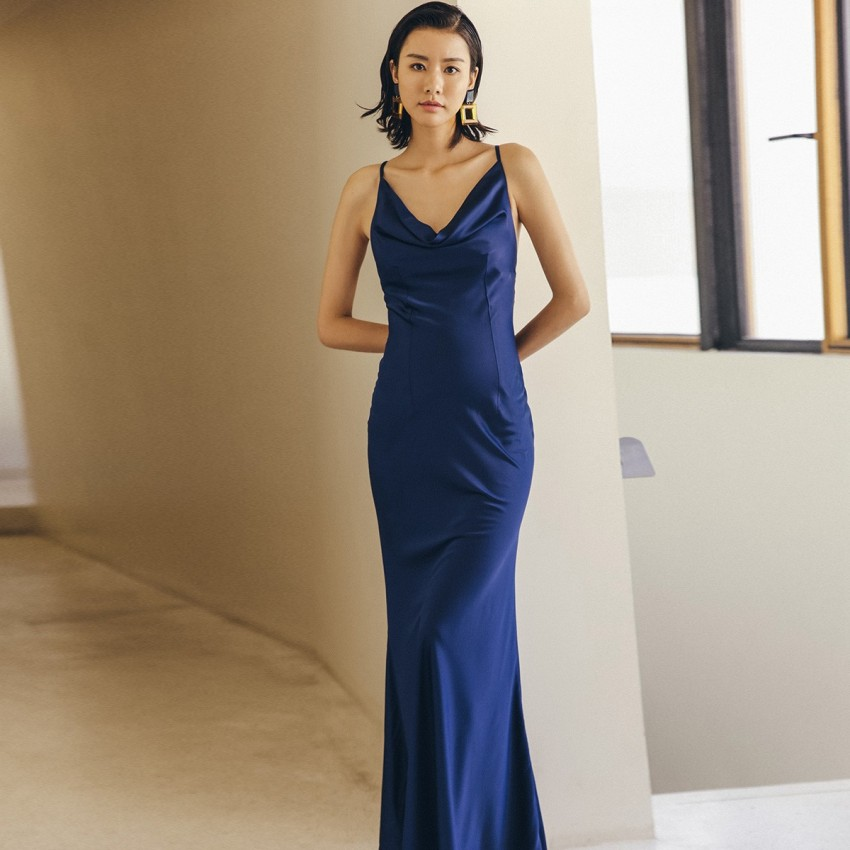 Buy Isislove Classic Elegant Navy Dress online, shop Isislove with free shipping