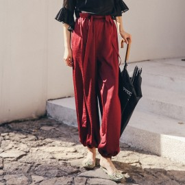Isislove Ankle-Tied Wine Pants (PA18014)
