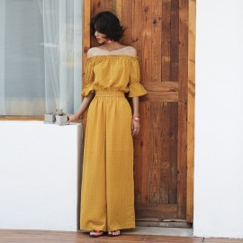 Isislove Dotted Off-The-Shoulder Yellow Jumpsuit (SE1710)