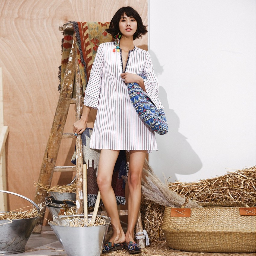 Buy Isislove Stripe Tent White Dress online, shop Isislove with free shipping