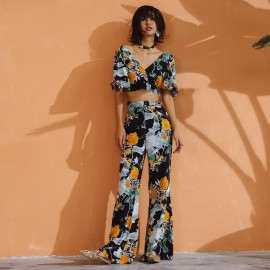 Isislove Contrast Cropped Floral Green Set (SE1766)