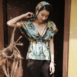 Isislove Sexy Tie-Waist Floral Green Top (SE1768SY)