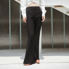 Isislove Simple Bell-Bottom Black Pants (SE18008KZ)