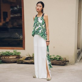 Isislove Flowy Leaf Print Green Top (SE18019S)