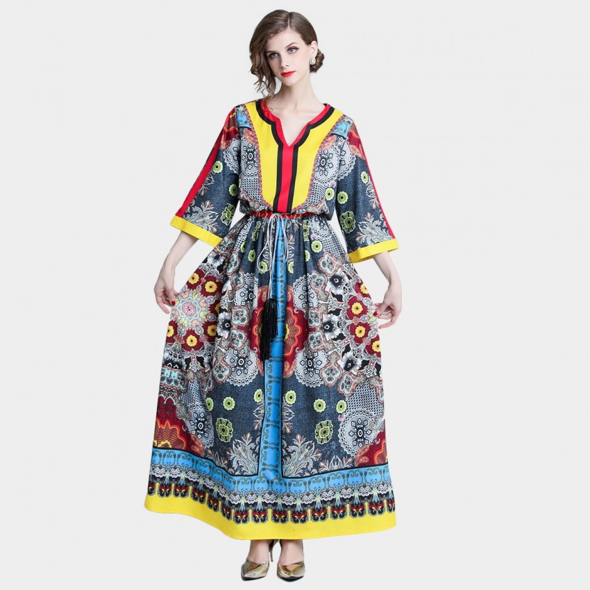 DZA Folk- Custom Blue Dress (7545)