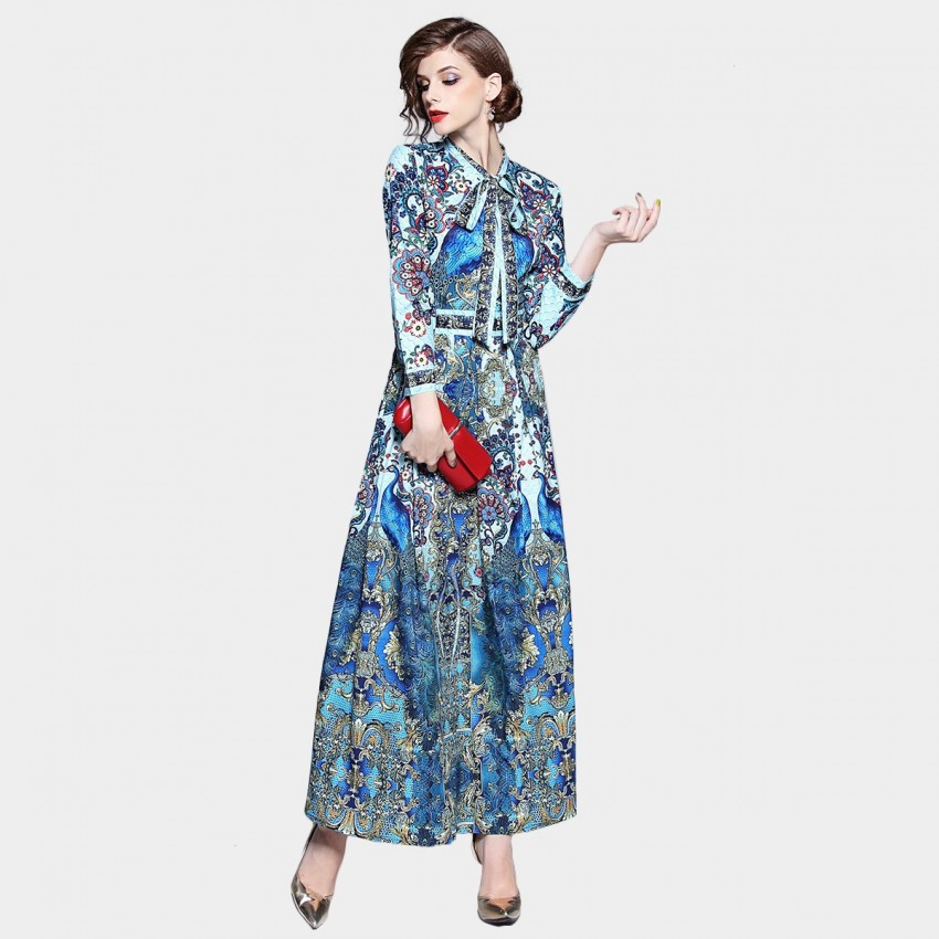 DZA Peacock Blue Dress (7705)