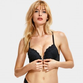 Dobreva Elegant Lace Back Front Hook Black Bra (F001)