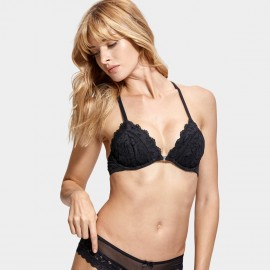 Dobreva Enchantment Lace Back Front Hook Black Bra (F005)