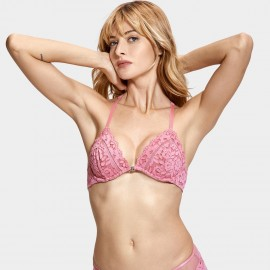 Dobreva Enchantment Lace Back Front Hook Pink Bra (F005)