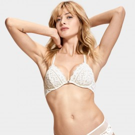 Dobreva Enchantment Lace Back Front Hook Ivory Bra (F005)