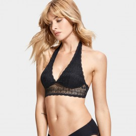 Dobreva Refine Lace Halter Back Black Bra (F012)
