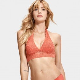 Dobreva Refine Lace Halter Back Orange Bra (F012)