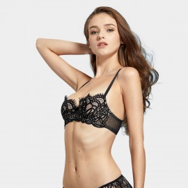 Dobreva See Through Unlined Lace Black Bra (F024)