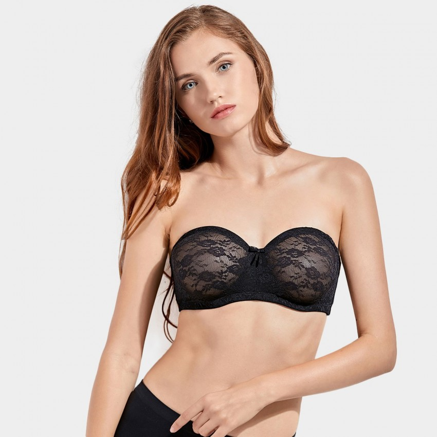 Dobreva Unlined Strapless Lace Black Bra (H094)