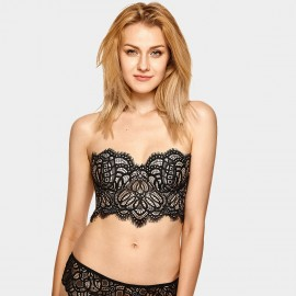 Dobreva Gorgeous Strapless Long Line Black Bra (H317)