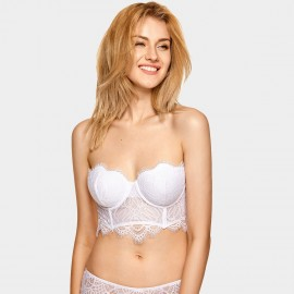 Dobreva Gorgeous Strapless Long Line White Bra (H317)