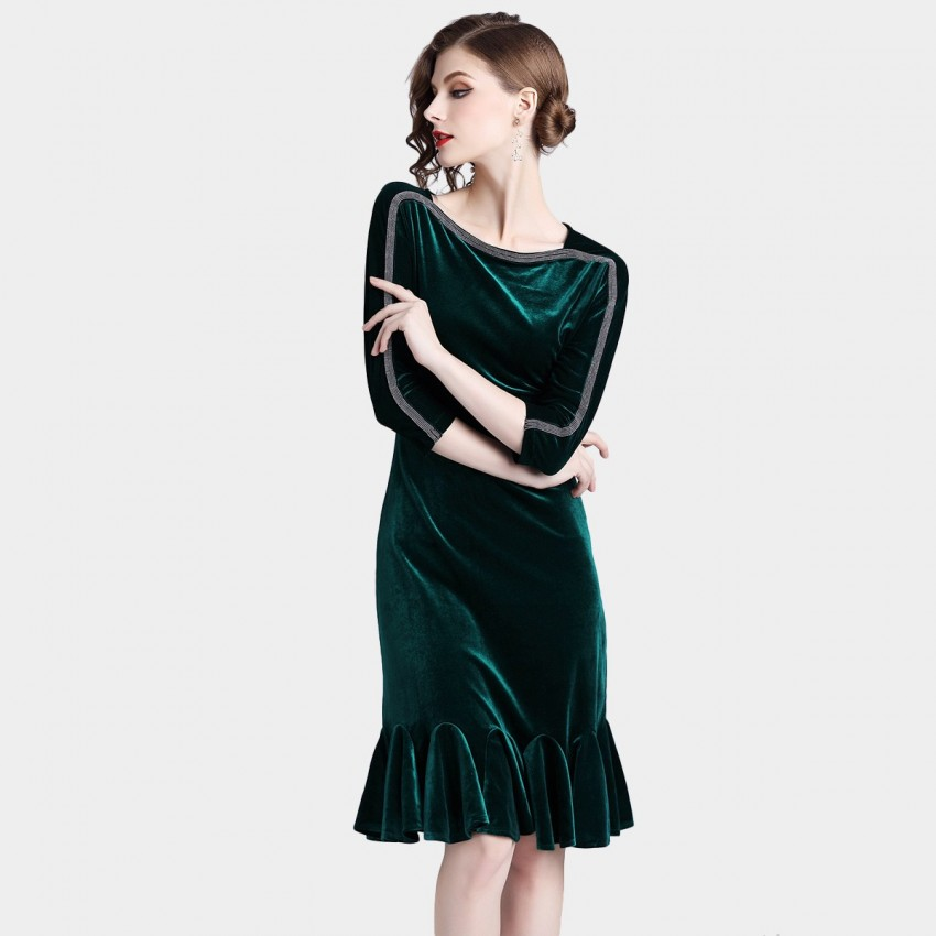 ZOFS Velvet Shift Green Dress (8008)