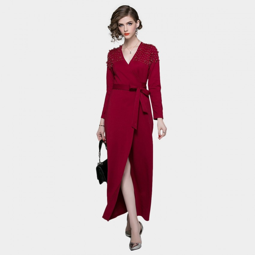 ZOFS Wrap Red Dress (8018)