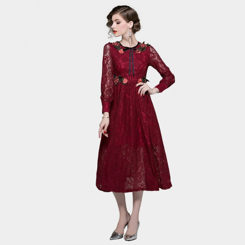 Buy ZOFS Lace Rose Red Dress online, shop ZOFS with free shipping