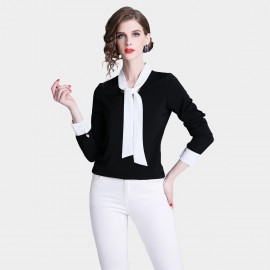 ZOFS Ribbon Collar Black Shirt (8092)