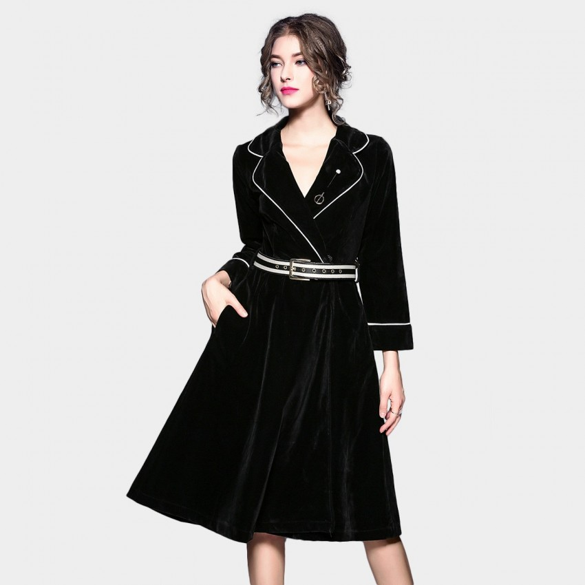 Buy ZOFS Plunge-Neck Belted Black Dress online, shop ZOFS with free shipping