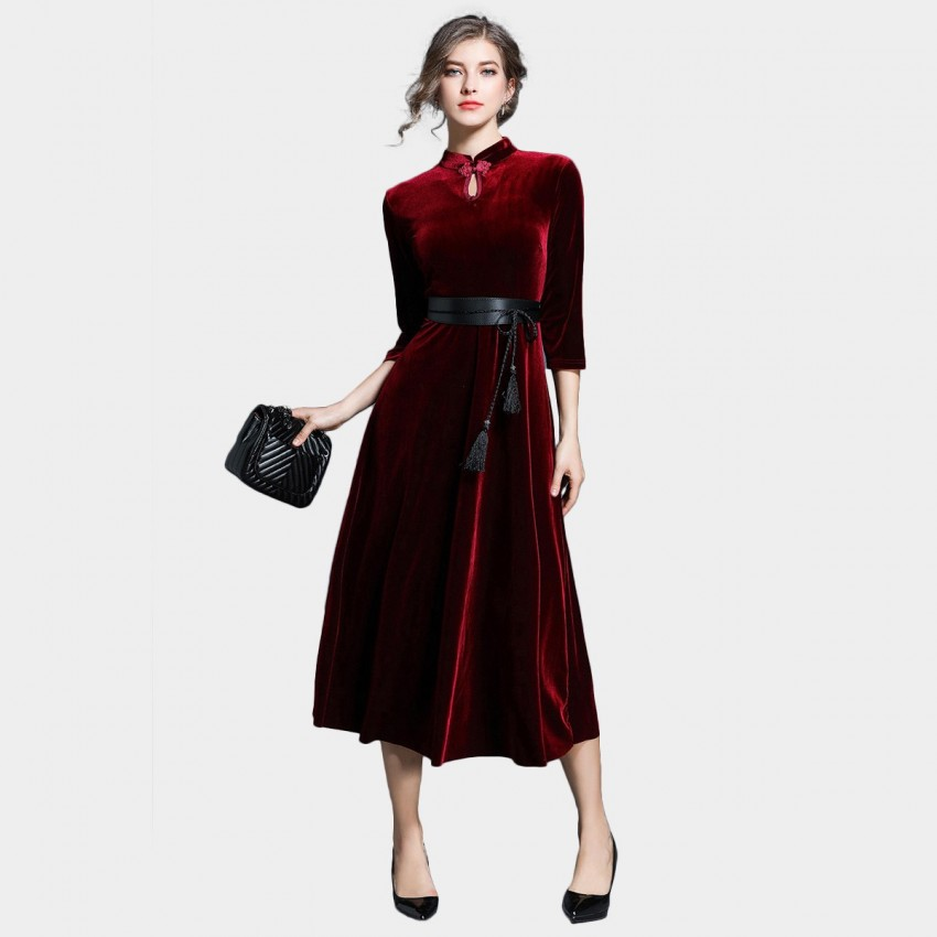 ZOFS Velvet Shift Red Dress (8704)