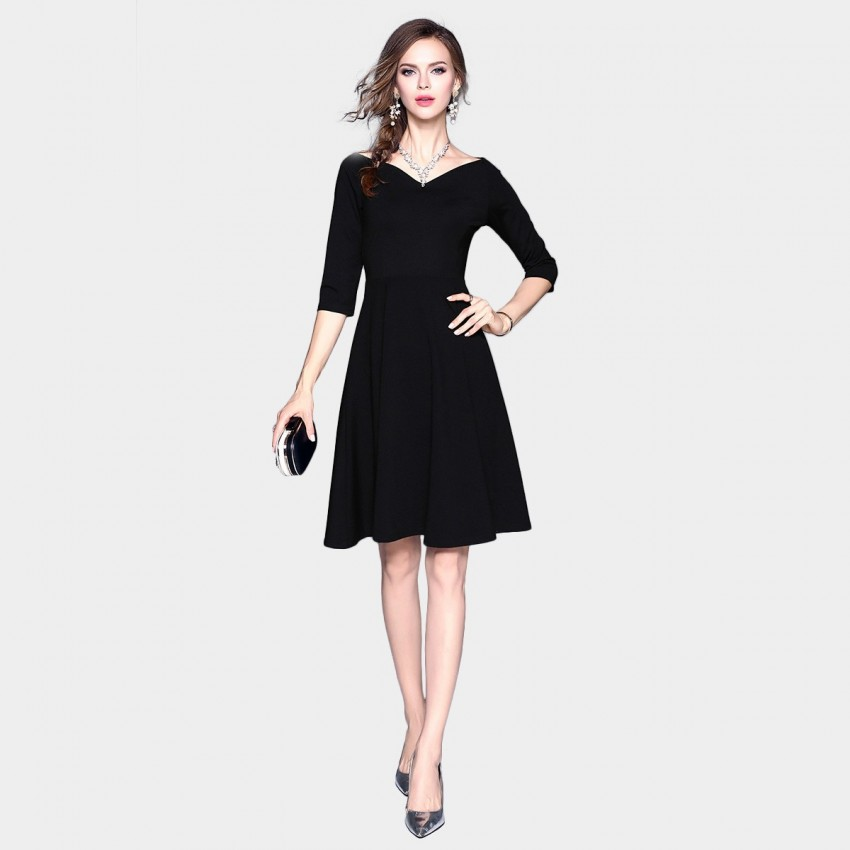 Buy ZOFS Classic Wide-Neck Black Dress online, shop ZOFS with free shipping