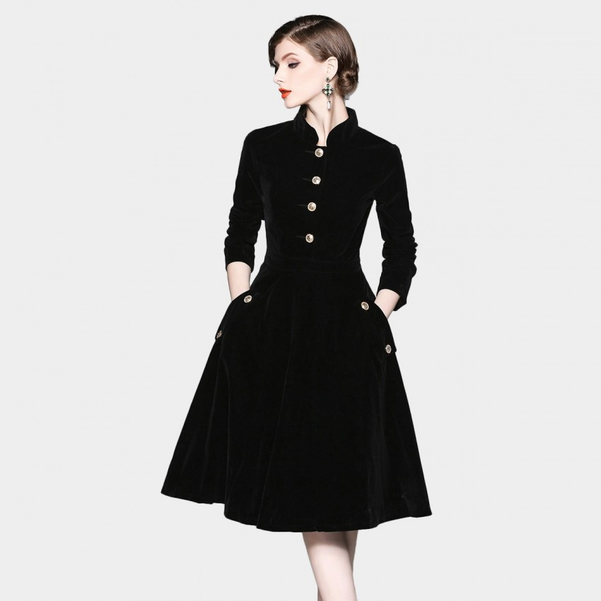 Buy ZOFS Button Stand-Collar Black Dress online, shop ZOFS with free shipping