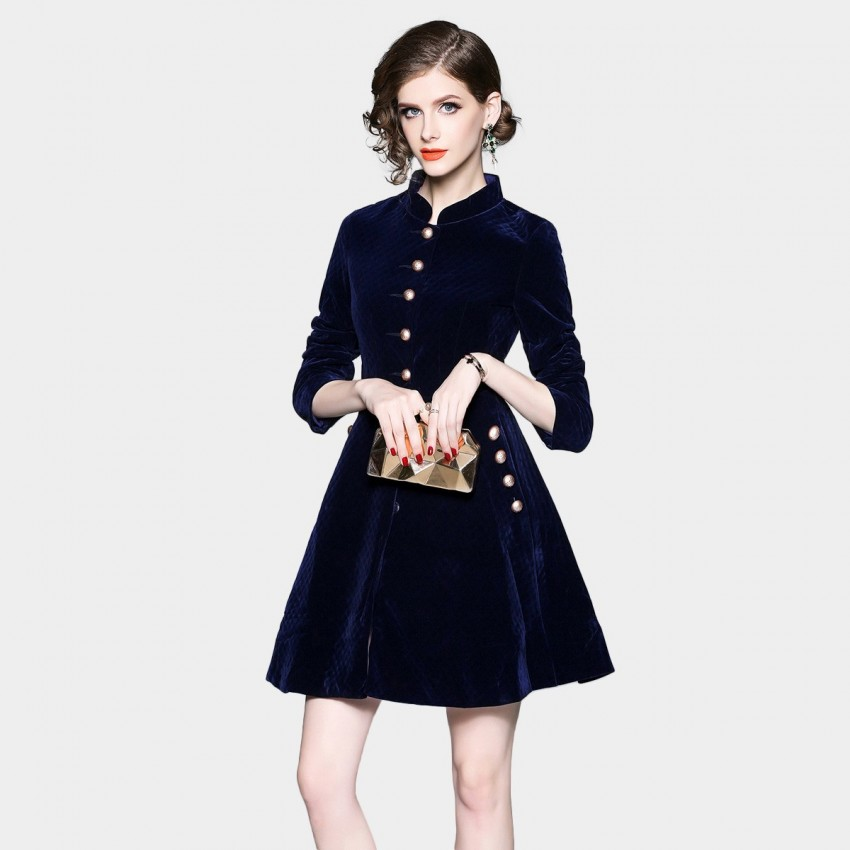 ZOFS Velvet Shift Button Navy Dress (8859)