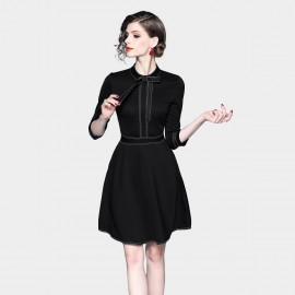 ZOFS Ribbon Black Dress (8867)