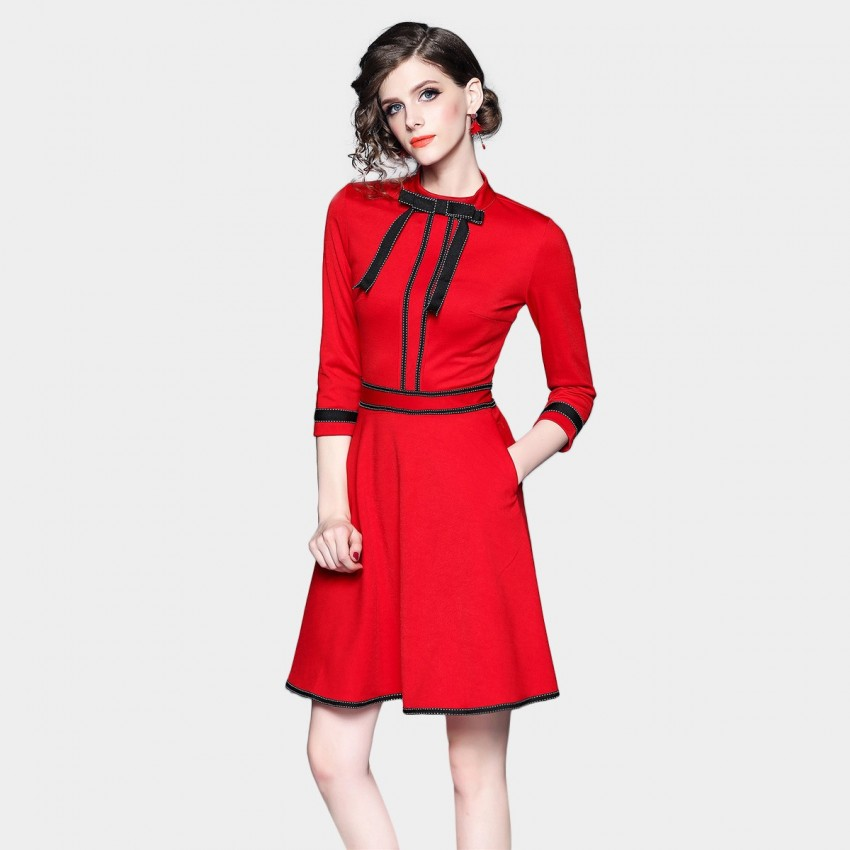 Buy ZOFS Ribbon Red Dress online, shop ZOFS with free shipping