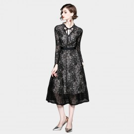 ZOFS Floral Lace Black Dress (8878)