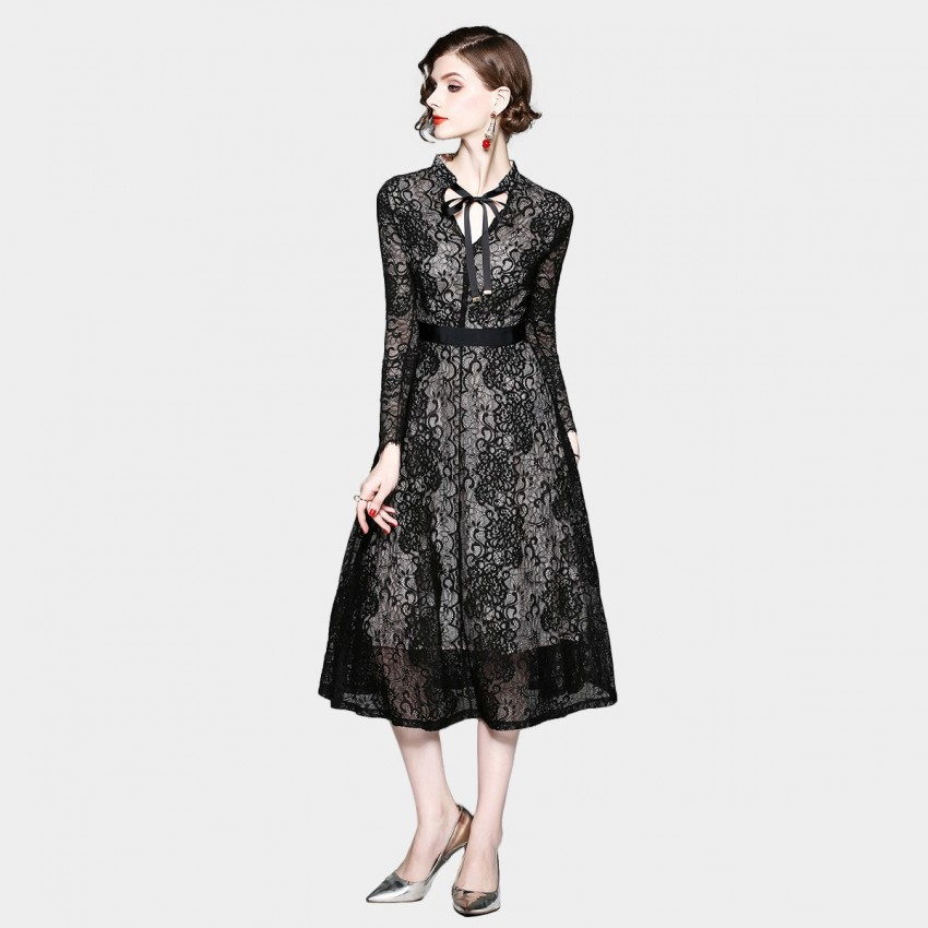 Buy ZOFS Floral Lace Black Dress online, shop ZOFS with free shipping