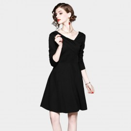 ZOFS Asymmetric Neckline Black Dress (8921)