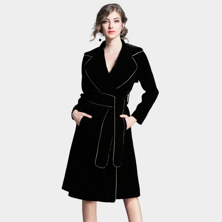 ZOFS V-Neck Wrap Black Coat (8924)