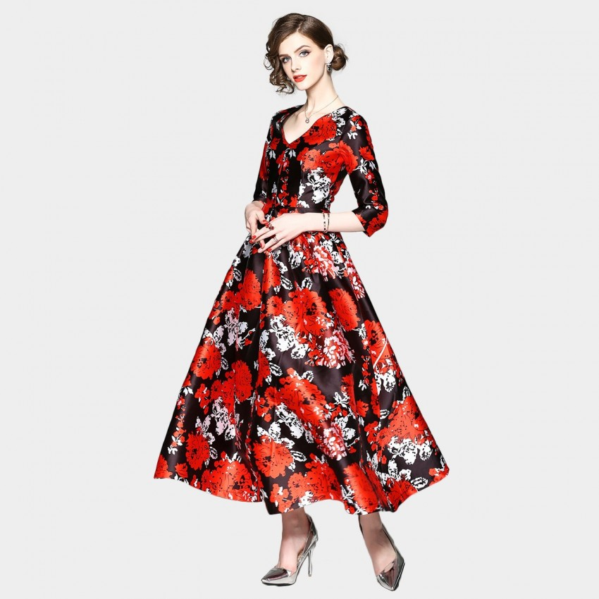 Buy ZOFS Oriental Maxi Red Dress online, shop ZOFS with free shipping
